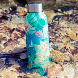 QUOKKA STAINLESS STEEL BOTTLE SOLID TROPICAL 630 ML